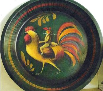 John Dunn Green Pie Tin with Red Hat Rooster Rider 1999