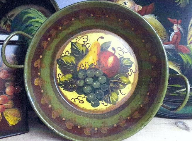 Peter Ompir Green Handled Pan with Fruit Signed Original