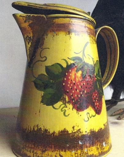 Peter Ompir Yelloe Creamer with Strawberries Original & Signed