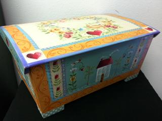 Original painted chest by Rosemary West