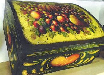 Original John Dunn Green Chest with Fruits, Hearts and Strokework<br>Year 2000